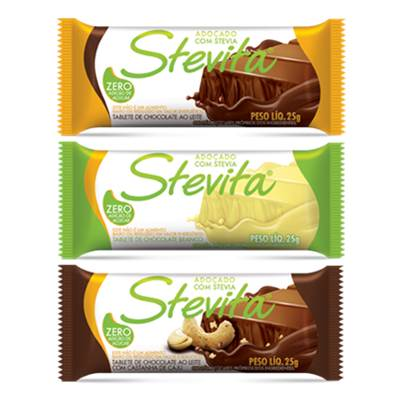 Compro Stevita White or Milk or Cashew Nuts Chocolate Bar 25g -