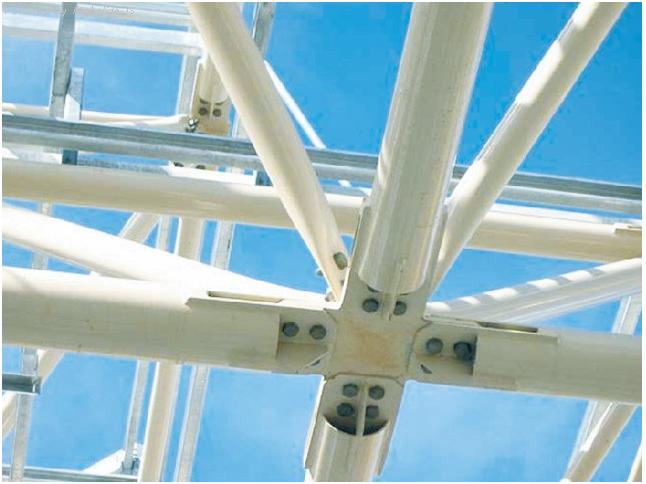 Estruturas espaciais - possibilitam versatilidade no projeto, rapidez na montagem, baixa manutenção.