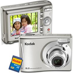 """Compro Câmera Digital 8.2 Megapixels com Zoom Óptico 3x e LCD 2.4"""" - C140 Prata - Kodak + Cartão SD 2GB"""