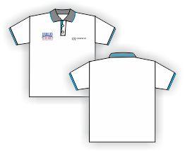Compro Camisa em malha de algodão com logomarcas bordadas.