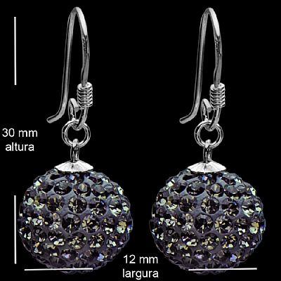 Compro Brinco de prata bola pendente cristal black diamond 12mm