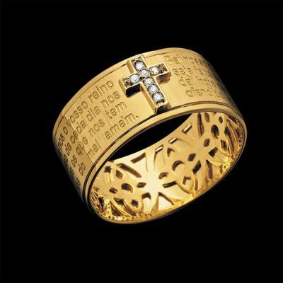 Compro Anel Pai Nosso em ouro 18K com diamantes