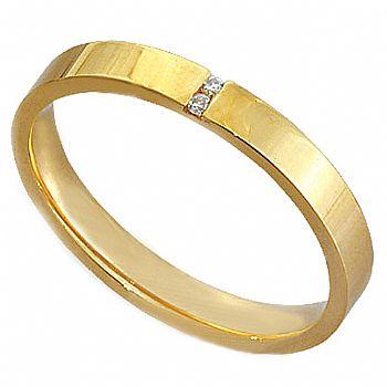 Compro Par de alianças anatomicas em ouro 18K com diamantes