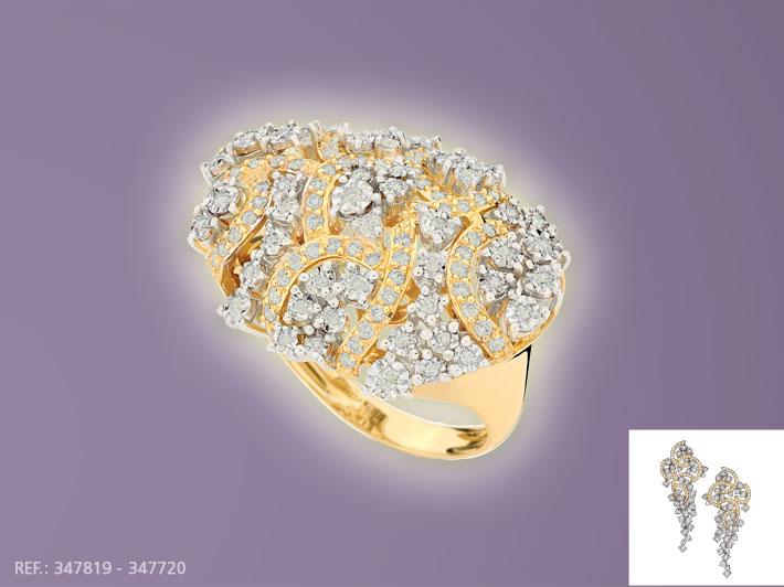 Compro Anel em ouro com diamantes