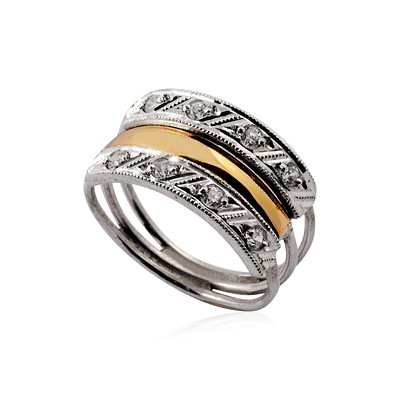 345a785262334 3 elos-anel prata 925 com filete de ouro buy in Guaporé on Portuguesa