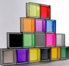 Vidros coloridos, pintados em massa