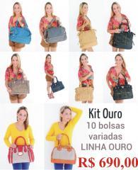 Kit com 10 bolsas de couro
