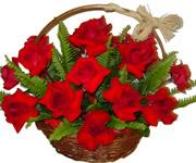 Cesta de Rosas Vermelhas c/ 12 Rosas