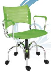 Cadeira giratoria flower gas cromada com braços