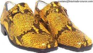 Sapato Couro Legítimo Cobra Coral Alto Relevo -