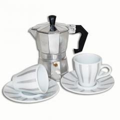 Kit Cafeteira italiana e jogo xícaras