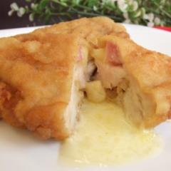 Filé de frango recheado com pres/queijo