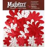 Flores de Tecido Embossed Daisies Mulberry
