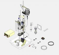 Conjunto para dinâmica dos líquidos com sensor e