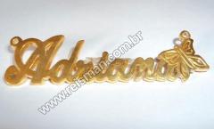 Pingente em Ouro Nome Personalizado com Borboleta.