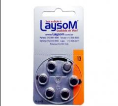Pilhas LAYSOM Zinc-Air para aparelhos auditivos.