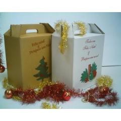 Caixa Cesta de Natal Parda (330x200x350).
