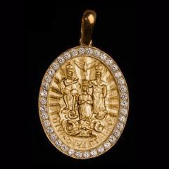 Medalha Divino Pai Eterno em ouro 18K cravejada de