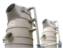 Lavador e depurador de gases - é executado totalmente em polipropileno, sendo portanto imune ao ataque de gases corrosivos.