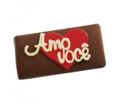 """Plaquinha de Chocolate """"Amo Você"""""""