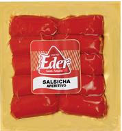 Salsichas - feitas somente de carne nobres bovina e suína, temperos naturais e processo quase artesanal, as Salsichas Eder são as mais tradicionais do Brasil desde 1923.