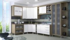 Cozinha de Canto Carvalho com Branco Moldura