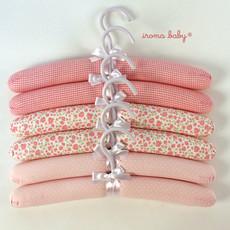 Jogo de cabide de bebê rosa xadrez, poá e floral