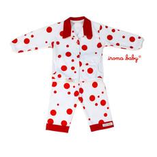 Pijama bebê poás vermelho com gola e bolsos na