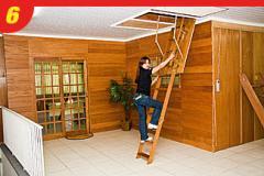 Escada para alçapão de madeira