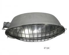 Luminária oval com grade de proteção