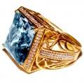 Anel Ouro 18k Com Topázio E Diamantes