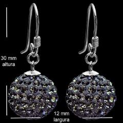 Brinco de prata bola pendente cristal black