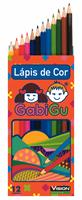 LÁPIS DE COR, 12 CORES, LONGO, CORPO EM MADEIRA.