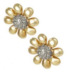 Brinco Ouro Flor com diamantes