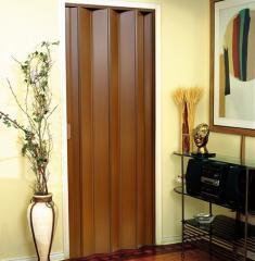 Porta PVC Sanfonada Facility Mogno