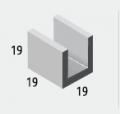 Canaleta 19x19x19-  para cintamento de paredes onde se usa um ferro Ø 3/8 e enchimento com graute de microconcreto.