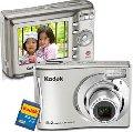 """Câmera Digital 8.2 Megapixels com Zoom Óptico 3x e LCD 2.4"""" - C140 Prata - Kodak + Cartão SD 2GB"""