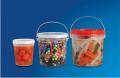 Baldes transparentes - muito utilizados na indústria alimentícia, pois permite a visualização do produto envasado.