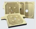 Placas para filtro prensa kns  - estas placas são projetadas para operar há uma pressão de filtragem de 10 até 15 Kgf/cm2 e temperaturas de -10º C até 90º C.