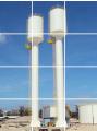 Reservatório tipo taça  com agua na coluna  são reservatórios em formato taça para média e pequena capacidade, abaixo de 200m³.