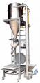 Ensacadeira automática para pó é totalmente contruída em aço inoxidável e o silo é redondo.