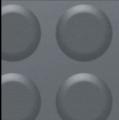 Lençol tipo passadeira com a superfície superior com marcas do tipo moeda e o outro lado liso ou rústico.