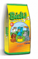 Bidu Junior - milho integral moído (transgênico), farinha de vísceras de frango, quirera de arroz, farelo de trigo, farelo de soja (transgênico), farinha de carne e ossos de bovinos.