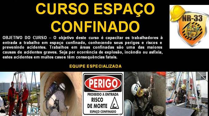 Encomenda TREINAMENTO ESPAÇO CONFINADO NR 33