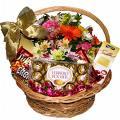Encomenda Entrega de Cestas de Flores com Chocolate
