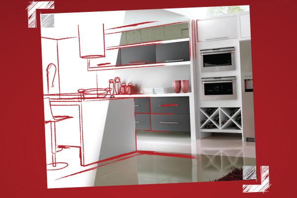 Encomenda A seleção de móveis de cozinha e eletrodomésticos